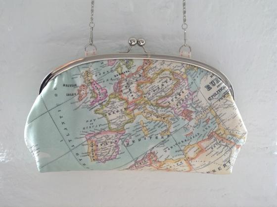 Map print clutch bag